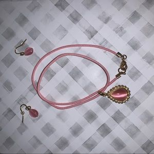 Pink Earring and Necklace